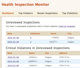 health inspection review workflow screen shot